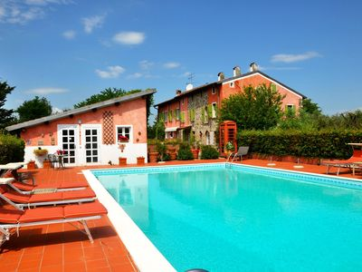 Photo for Historic house with park and swimming pool on the hills of Lake Garda