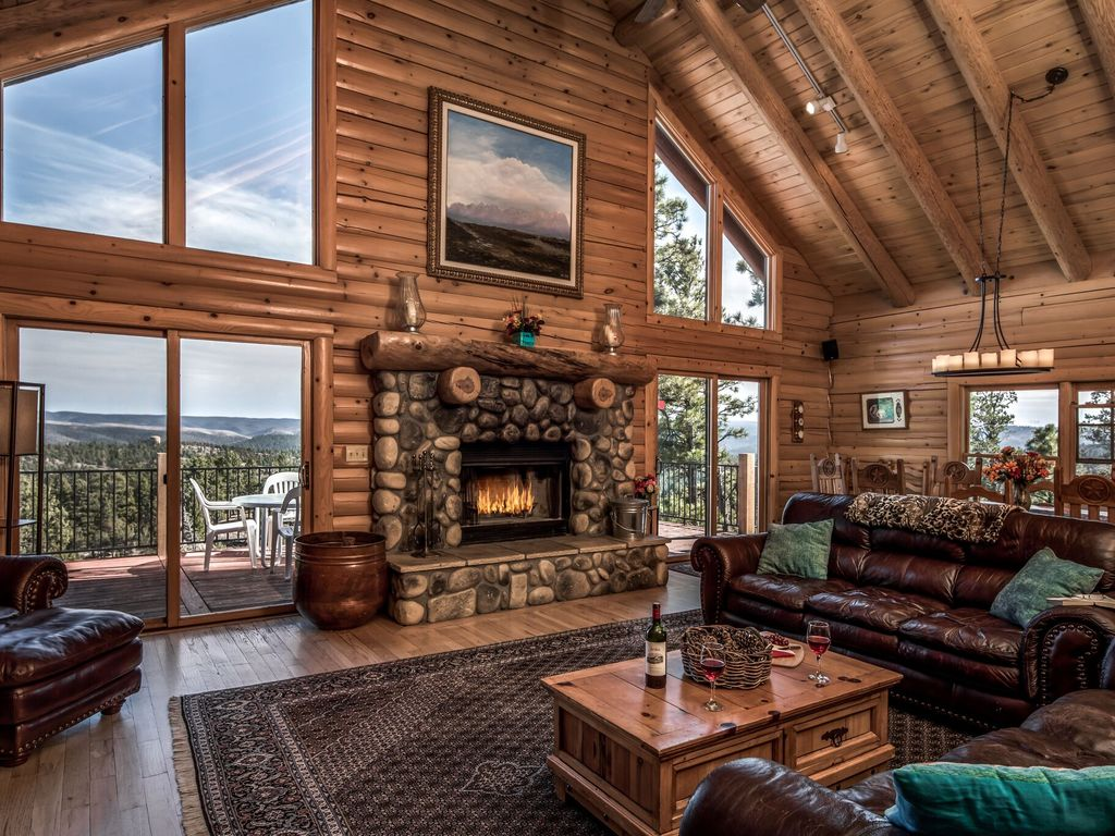 Gorgeous log home with mountain view and ne vrbo for Cabin rentals near ski apache