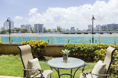 The waterfront patio offers a wonderful view