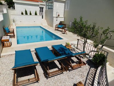 Photo for ctbv243/ Holiday house with private pool in Baška Voda - Makarska, up to 8 + 2 persons, 4 bedrooms, wi-fi, AC , stunning views over the islans