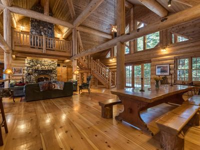 Photo for 4000 sq.ft. log cabin on 5 acres, sleeps 12 +