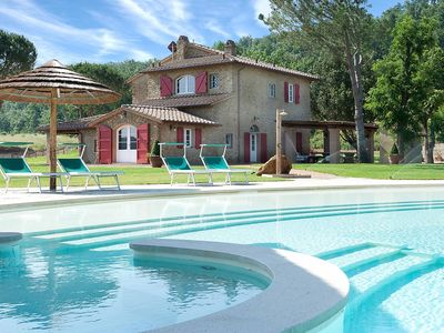 Photo for Deluxe country house + dream pool, for 14 people, near the beach.