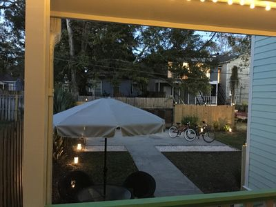 Backyard/porch view with SAFE lock courtyard/parking area.