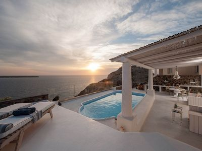 Photo for Ode Sunset Villa is perched over the Oia calde... - Four Bedroom Villa, Sleeps 8