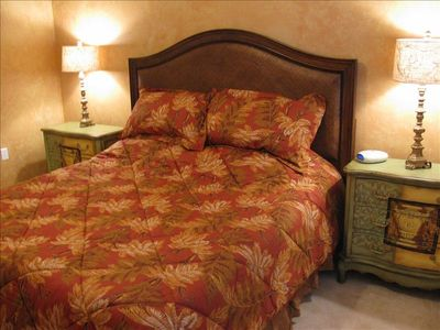 Tommy Bahama bedding and memory-foam King bed.