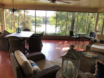 Perfect  lakefront home with awesome large screen room for family fun!!!