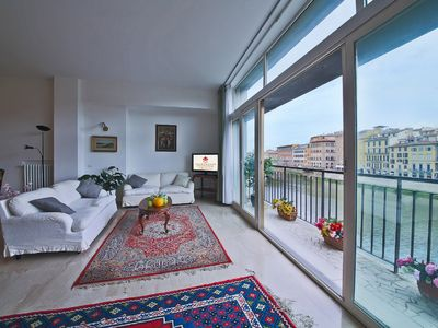 Photo for Stunning holiday rental with breathtaking view on the Arno River and  Florence's monuments.