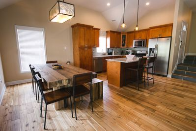 Huge open dining and kitchen area