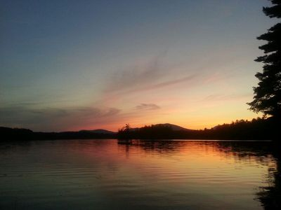 Sunset from your beachfront patio on Bearcamp Pond!
