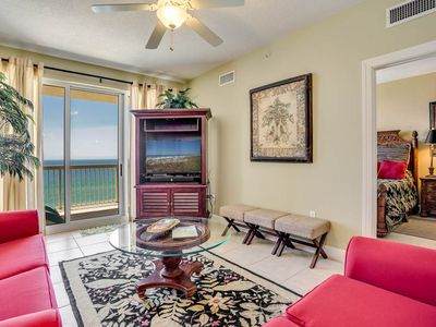 Photo for Inviting tropical condo with stunning gulf-front views! Free Wi-Fi. Free beach chairs and umbrella!