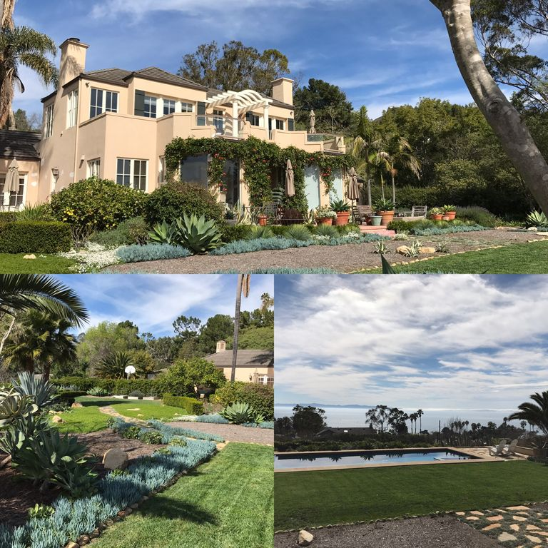 Collage showing backyard, house, and ocean view.