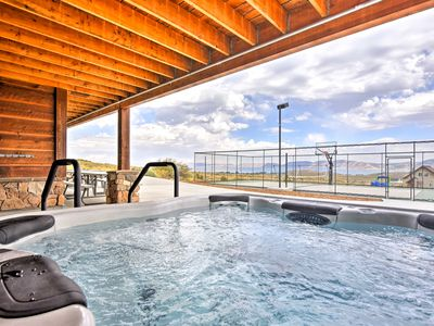 Photo for Garden City Cabin w/ Hot Tub, Sport Court & View!