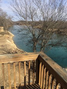 view up river from large deck off cabin