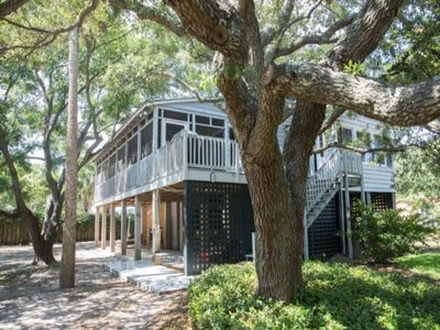 Photo for 3 BR, 2 BA Charming Elevated House -- 1 Block to Beach! Large Screened Porch with Hammock!