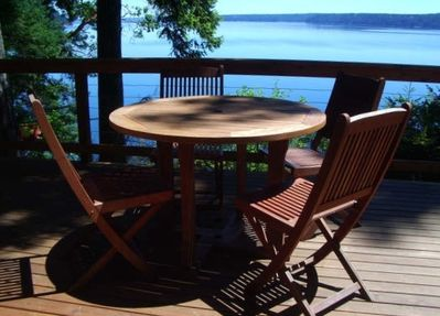 Beautiful deck overlooking your private beach with oysters!