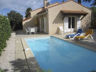 Photo for 4 pool house faces Saint Cyprien 300 meters from the beach