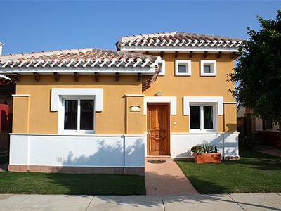 Photo for Luxurious 2 bed 2 bath villa with private pool, large garden and golf- nr to sea