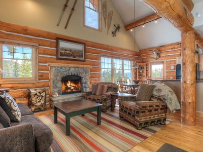 Photo for Luxury Log Cabin With Picture Perfect Forest Surroundings. Ski Access & Hot Tub!
