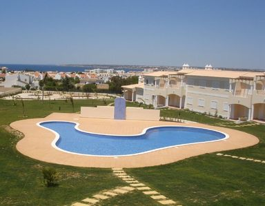 View of the pool from roof terrace