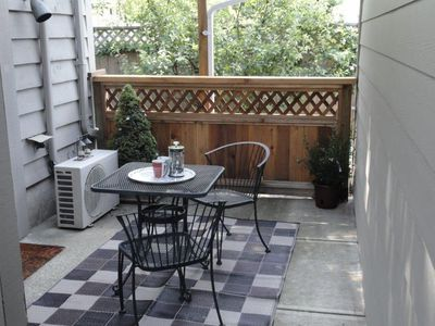 Your own peaceful patio to enjoy your morning java or evening glass of wine.