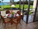 Oceanfront dining area and lanai