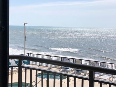 Spectacular view of the ocean and the 7th floor pool deck from the balcony.