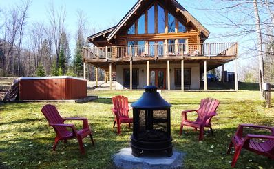 Photo for Log Cottage with 4 bedrooms, 3 bathrooms, Hot tub - 30 min from Mont Tremblant