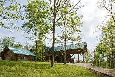 Drive up the front drive to the front of Cabin Creek Lodge! Welcome to our home!