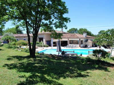 Photo for Old stone farmhouse in a quiet location with large heated pool.