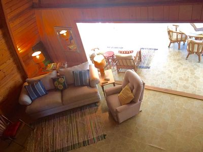 Cozy family space with DVD player and flat screen TV.