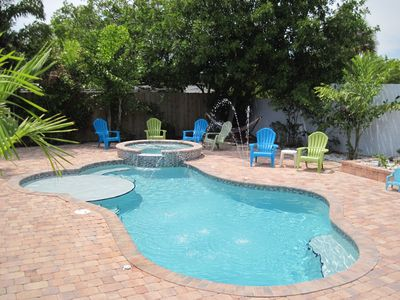 Photo for NEAR BEACH WITH PRIVATE HEATED POOL & SPA + WALK TO DOWNTOWN RESTAURANTS & RIVER