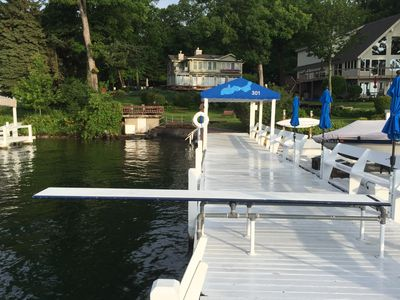 swim pier with diving board and shallow entry at shore