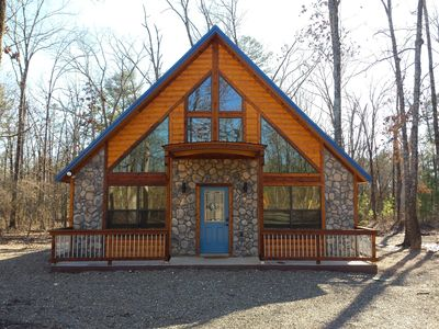 Photo for Ole Blue -Modern, Rustic Cabin, WiFi, Hot Tub & much more!