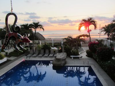 Breathtaking sunsets each night from second floor private balcony.