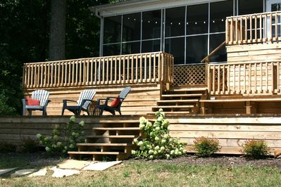 Screened porch and multi-level deck provide fun areas to relax and view the lake