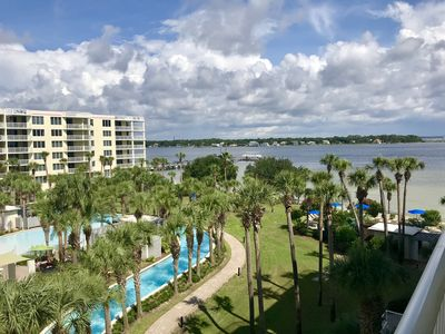 Balcony views of the huge lazy river and Bay