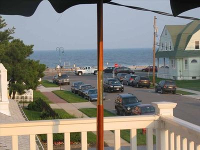 View to the beach from second floor deck