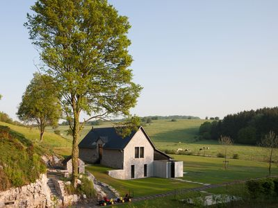 Photo for La Micheline, isolated design house with view over the fields, closed to Dinant, Na