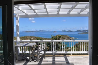View looking out east from the living room, towards the British Virgin Islands