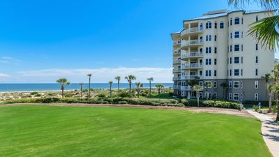 Looking across The Ritz-Carlton lawn to our oceanfront condo building.