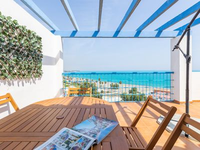 Photo for Penthouse with big terrace, sea views, pool and Wi-Fi in Estepona Marina