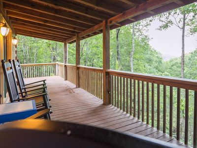 Photo for Secluded & upgraded cottage w/ game room, wraparound deck, & private hot tub