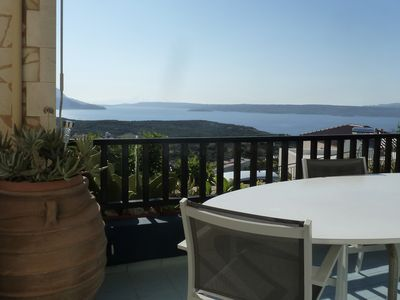 Photo for Charming Chania area villa with panoramic sea views and private pool. Sleeps 5