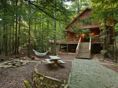Photo for Secluded creek front cabin adjacent to NFS Cohutta Wilderness.