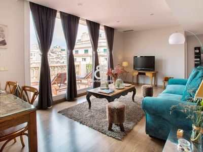 Photo for BCN Rambla Catalunya - Spectacular and luxurious 1 bedroom penthouse with terrace and views of La Pedrera located in one of the most exclusive areas of Barcelona.