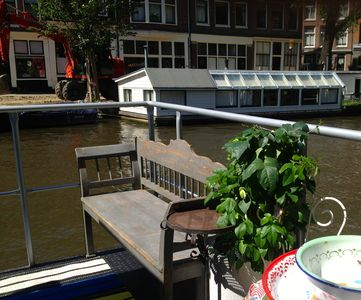 Back patio with excellent view on the canal