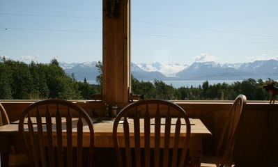 Dine with a glacier vista!