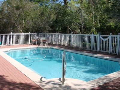 Private pool, surrounded by natural Florida brush and landscaping. Sun and shade