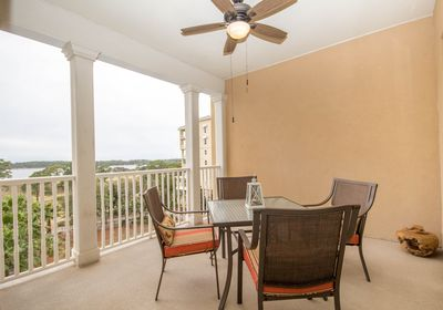 Oversized balcony with views of Grand Lagoon. Perfect for Morning Coffee or Dinner for 4!
