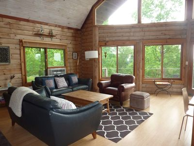 Living Room with full view of Catskill Mountains